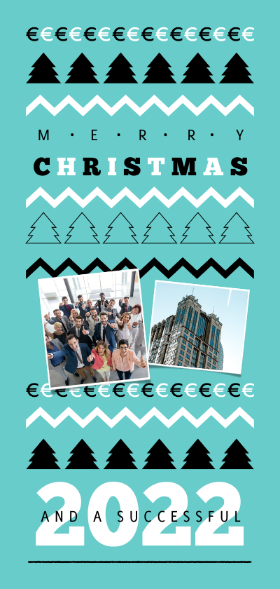 Zakelijke kerstkaarten - Zakelijke kerstkaart financieel euro patroon foto