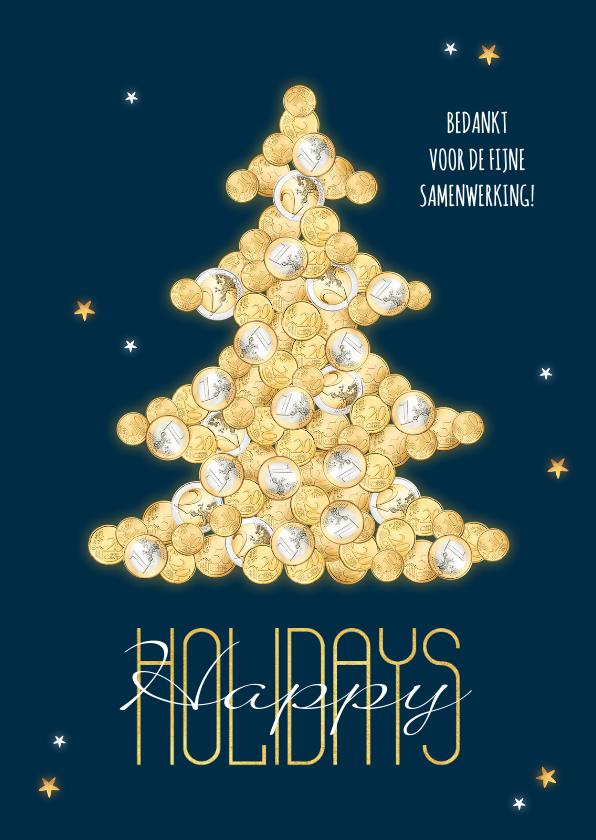 Zakelijke kerstkaarten - Zakelijke kerstkaart financieel geld kerstboom goud sterren