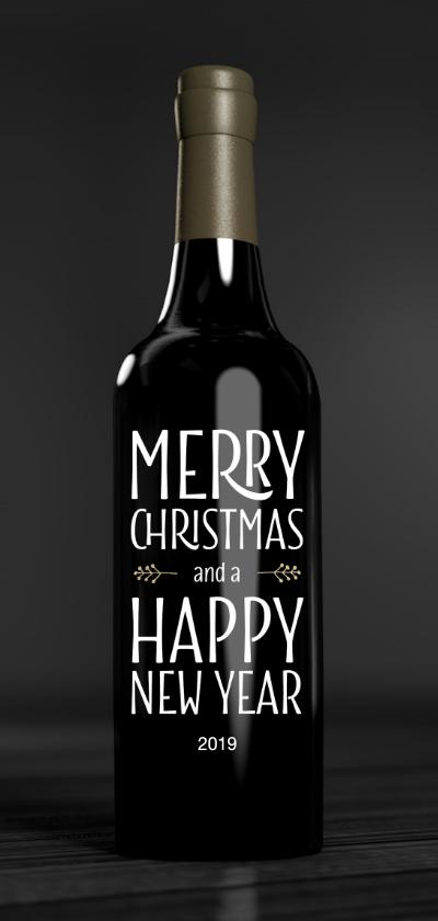Zakelijke kerstkaarten - Zakelijke kerstkaart fles wijn