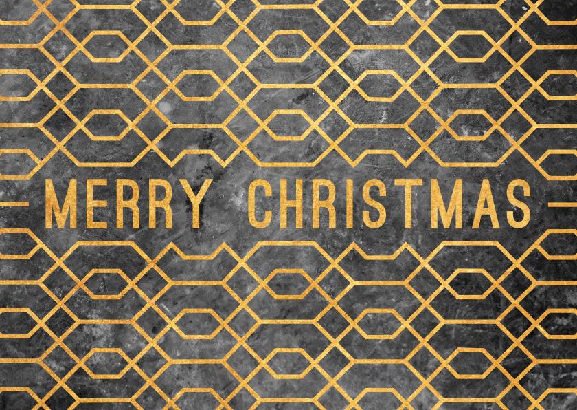 Zakelijke kerstkaarten - Zakelijke kerstkaart geometrisch met beton en goudlook