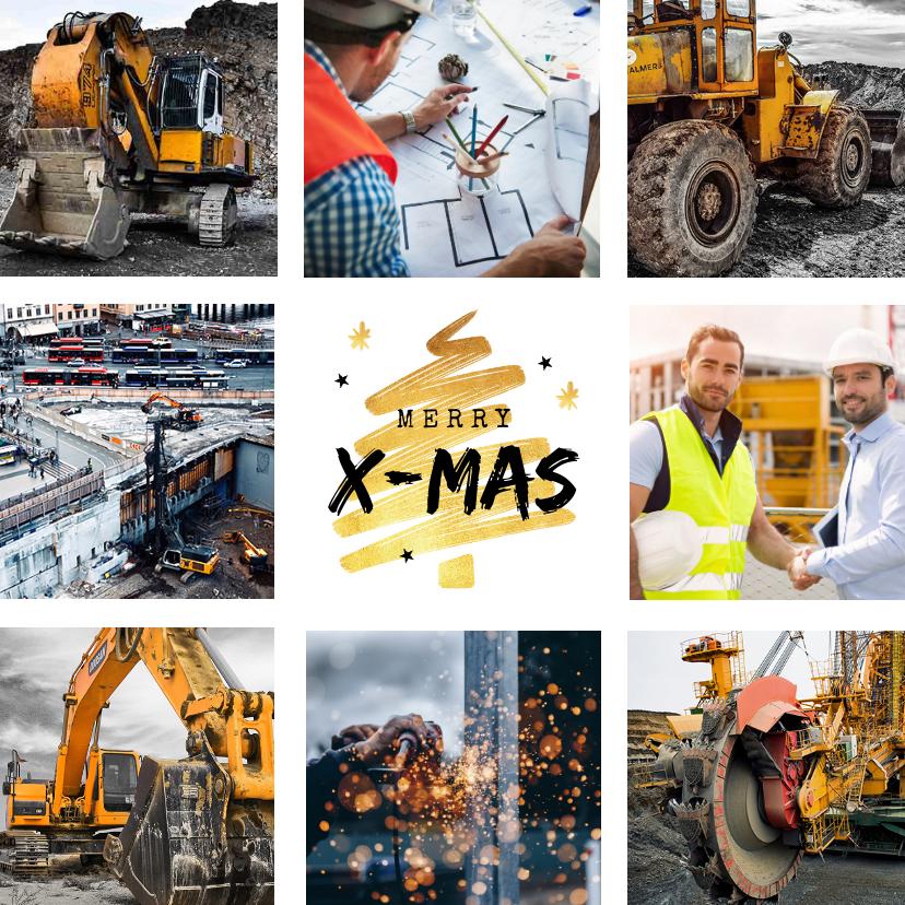 Zakelijke kerstkaarten - Zakelijke kerstkaart goud kerstboom fotocollage bouwbedrijf
