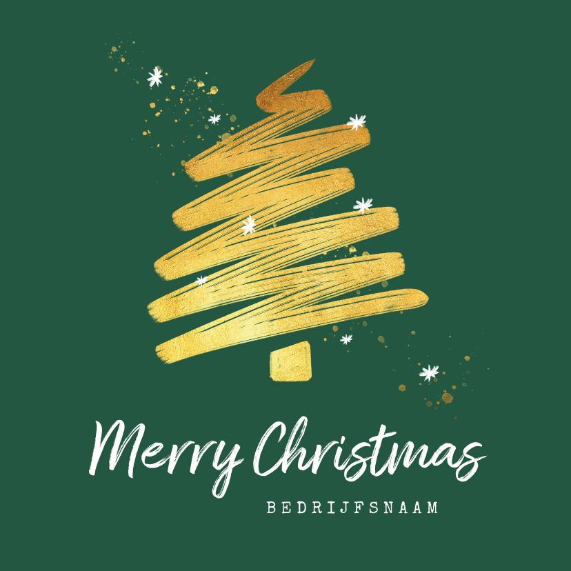 Zakelijke kerstkaarten - Zakelijke kerstkaart goud stijlvol sterren kerstboom
