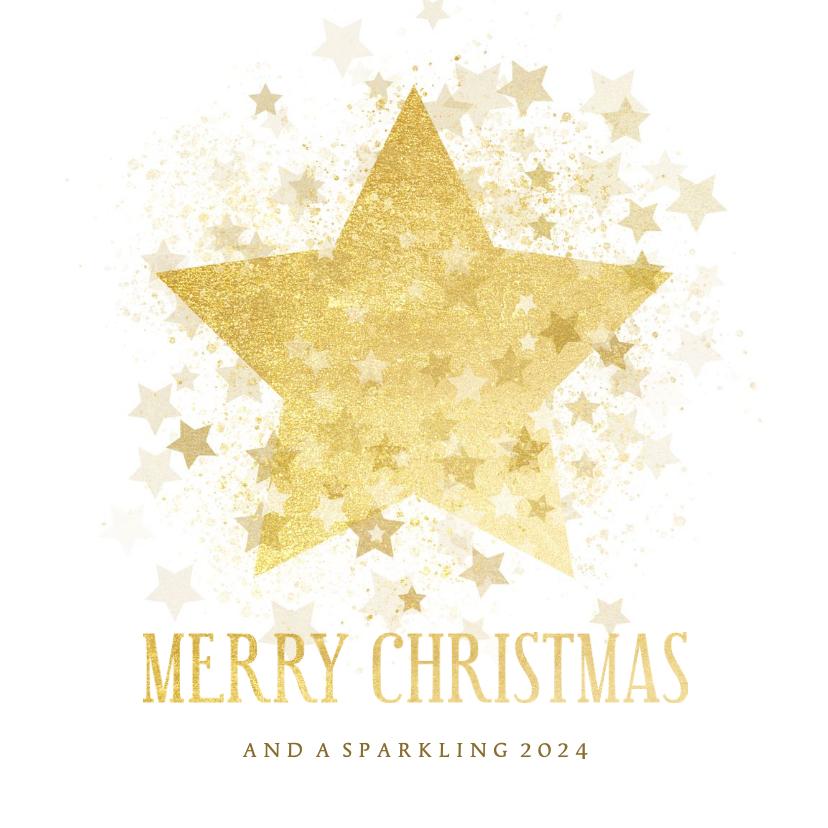 Zakelijke kerstkaarten - Zakelijke kerstkaart gouden ster stijlvol Merry Christmas