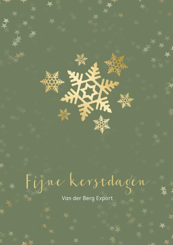 Zakelijke kerstkaarten - Zakelijke kerstkaart groen met sneeuwvlok - een gouden kerst