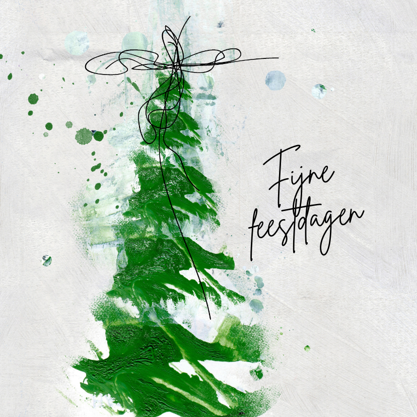 Zakelijke kerstkaarten - Zakelijke kerstkaart groene verf kerstboom