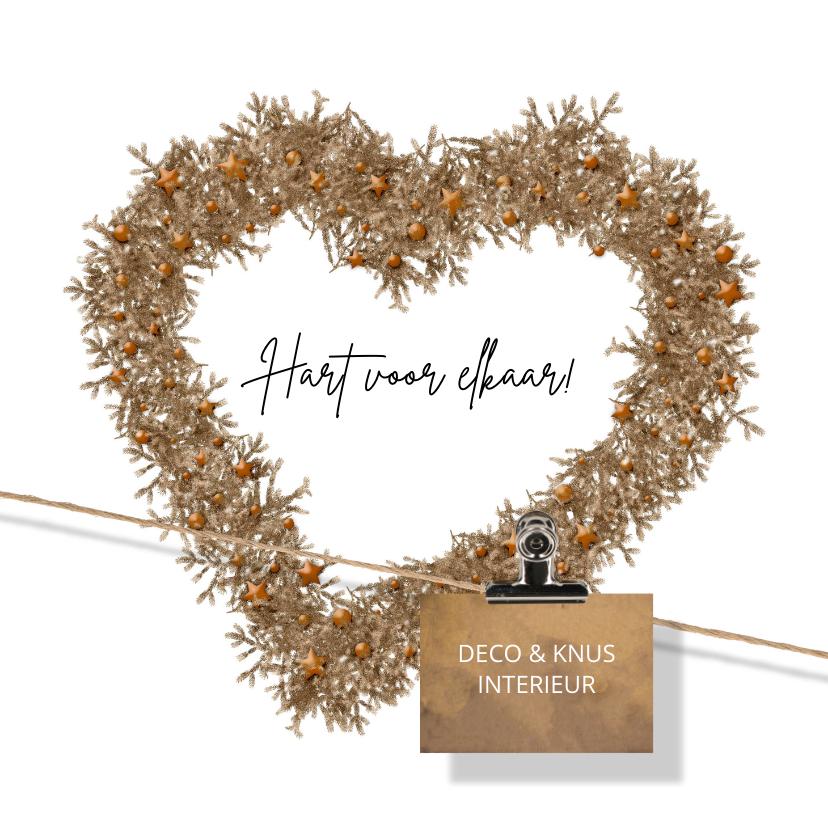 Zakelijke kerstkaarten - Zakelijke kerstkaart hart voor elkaar