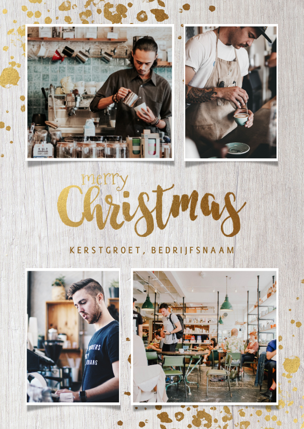 Zakelijke kerstkaarten - Zakelijke kerstkaart horeca branch foto's, hout en spetters