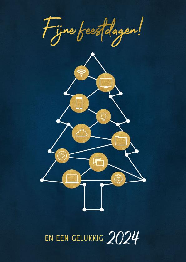 Zakelijke kerstkaarten - Zakelijke kerstkaart ICT branche kerstboom en iconen