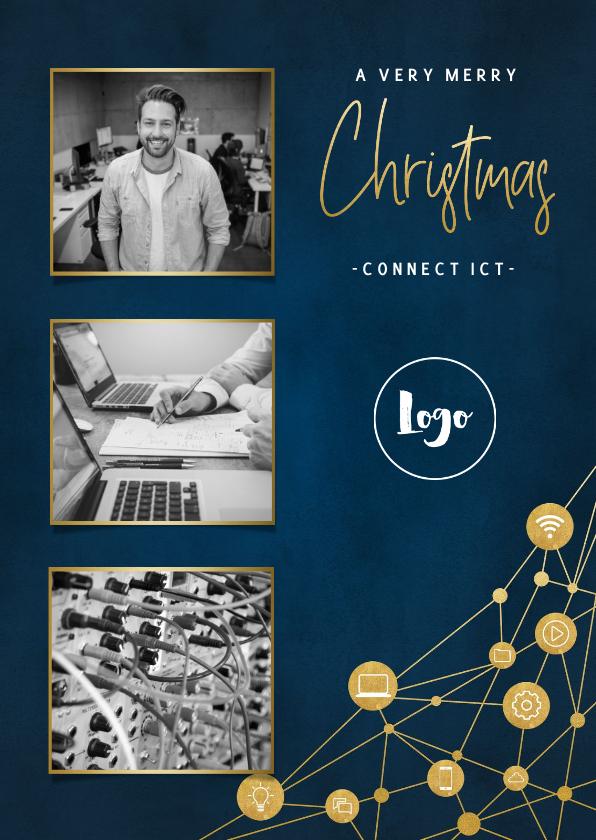 Zakelijke kerstkaarten - Zakelijke kerstkaart ICT met iconen, foto's en typografie