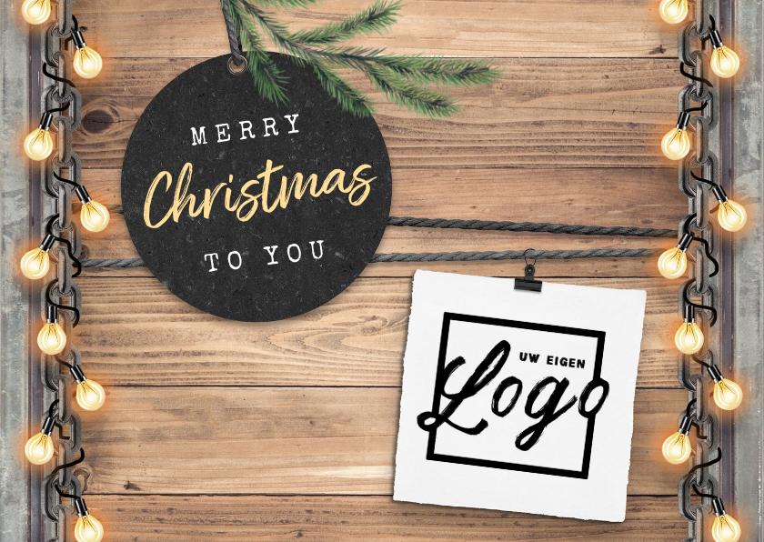 Zakelijke kerstkaarten - Zakelijke kerstkaart industrieel lampjes logo foto's
