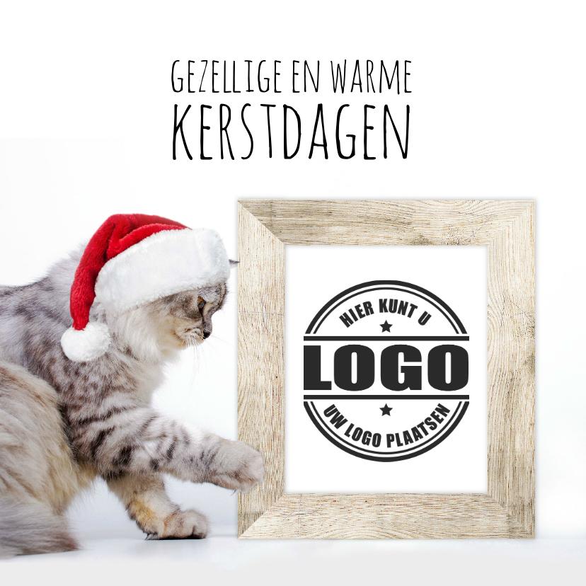 Zakelijke kerstkaarten - Zakelijke kerstkaart kat met kerstmuts en fotolijst logo