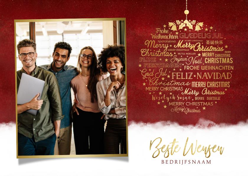 Zakelijke kerstkaarten - Zakelijke kerstkaart kerstbal met meertalige kerstgroet