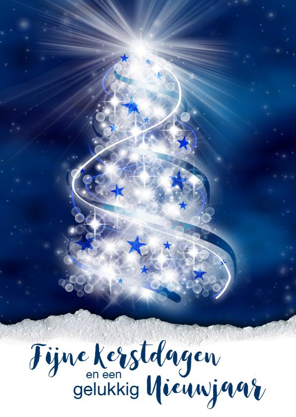 Zakelijke kerstkaarten -  zakelijke kerstkaart kerstboom blauw st