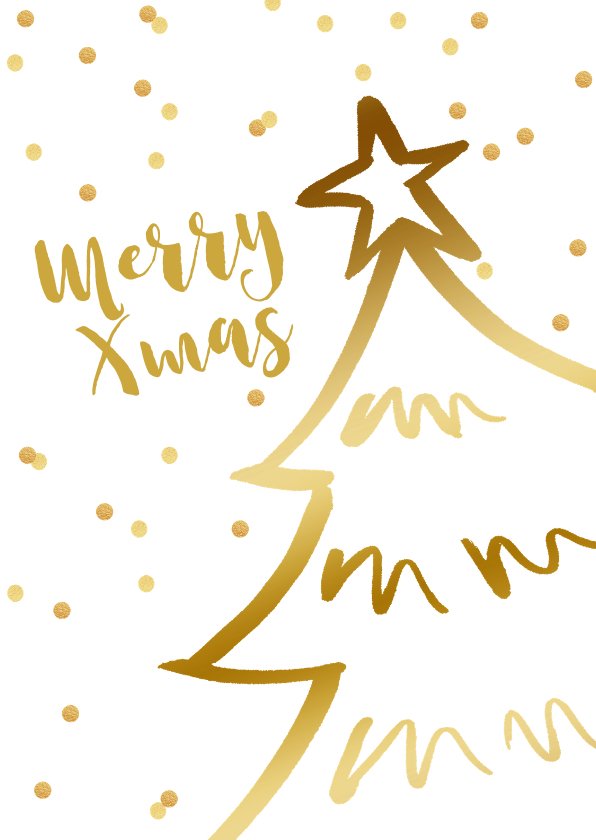 Zakelijke kerstkaarten - Zakelijke kerstkaart kerstboom confetti goudlook