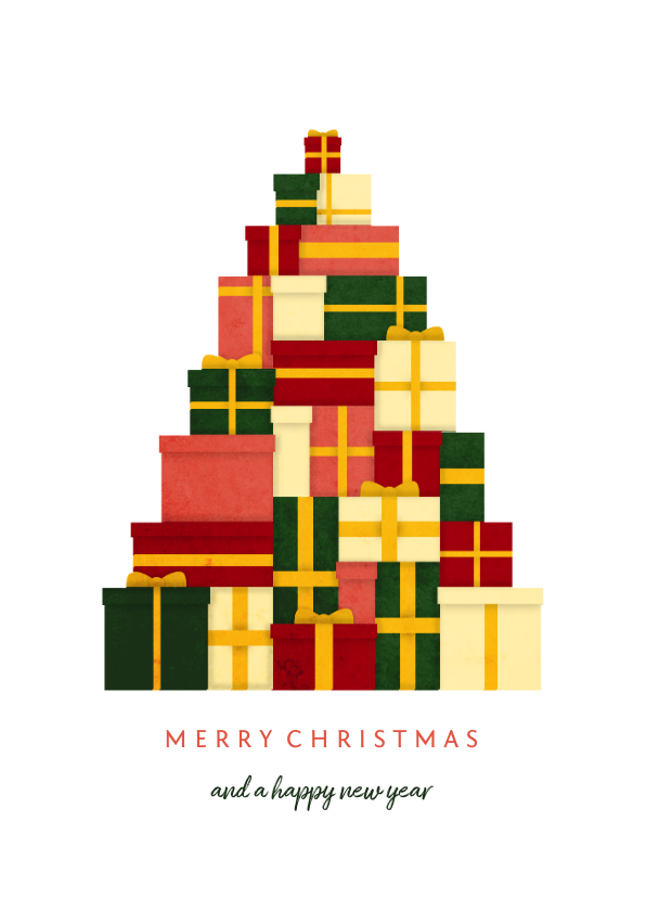 Zakelijke kerstkaarten - Zakelijke kerstkaart kerstboom van cadeaus