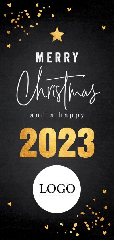 Zakelijke kerstkaarten - Zakelijke kerstkaart langwerpig zwart goudlook confetti logo