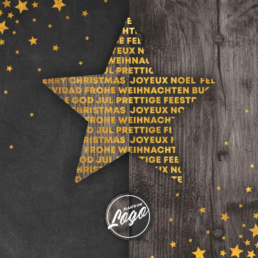 Zakelijke kerstkaarten - Zakelijke kerstkaart meertalig met logo en sterren