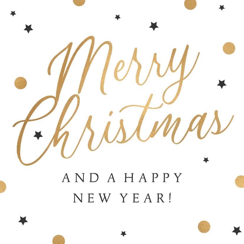 Zakelijke kerstkaarten - Zakelijke kerstkaart merry christmas goud confetti sterren