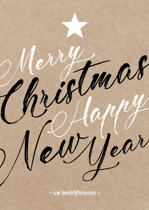Zakelijke kerstkaarten - Zakelijke Kerstkaart - Merry Christmas Happy NewYear - Kraft