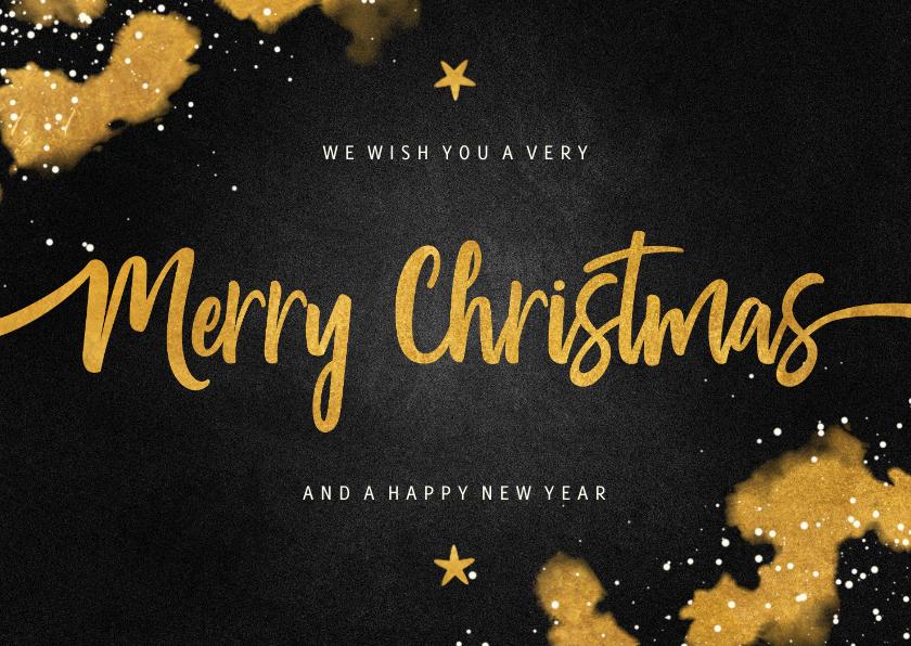 Zakelijke kerstkaarten - Zakelijke kerstkaart Merry Christmas krijtbord met goud