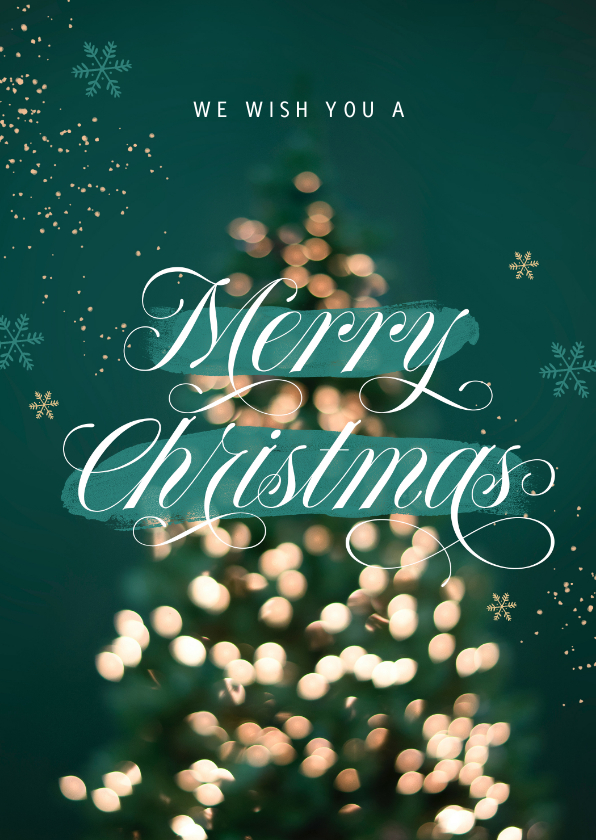 Zakelijke kerstkaarten - Zakelijke kerstkaart merry christmas lampjes kerstboom