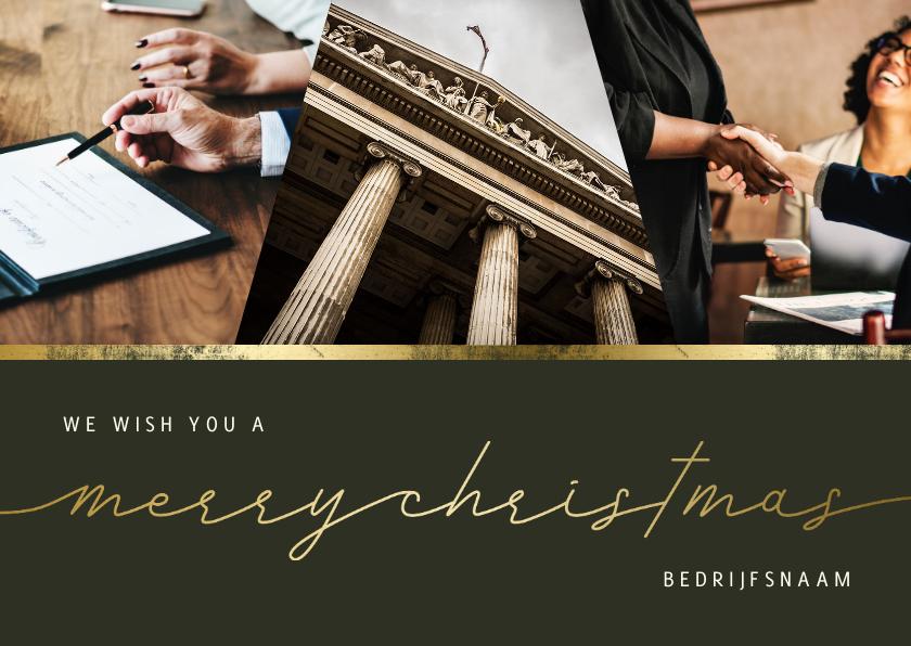 Zakelijke kerstkaarten - Zakelijke kerstkaart merry christmas met gouden lijn
