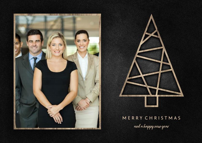 Zakelijke kerstkaarten - Zakelijke kerstkaart met foto, houten kerstboom en krijtbord
