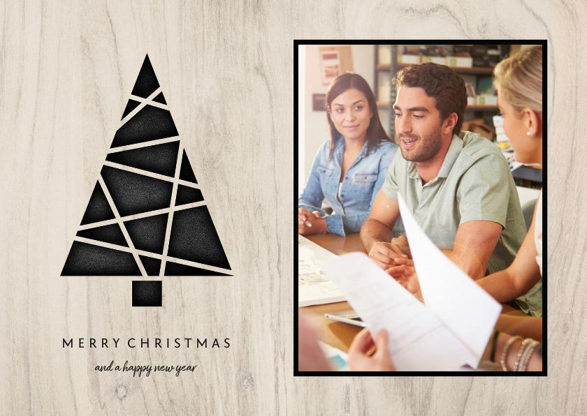 Zakelijke kerstkaarten - Zakelijke kerstkaart met foto, kerstboom en hout