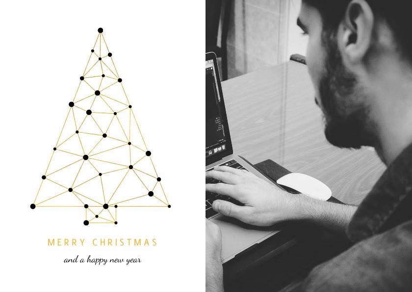Zakelijke kerstkaarten - Zakelijke kerstkaart met foto verbinding gouden kerstboom