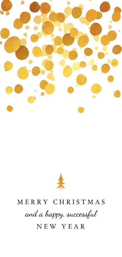 Zakelijke kerstkaarten - Zakelijke kerstkaart met gouden spetters en boompje