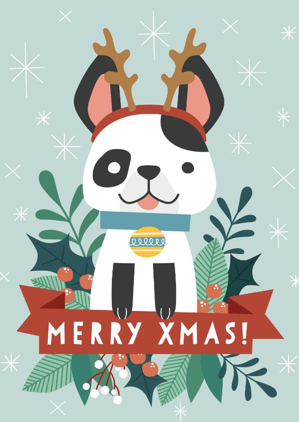Zakelijke kerstkaarten - Zakelijke kerstkaart met illustratie van hondje en takjes