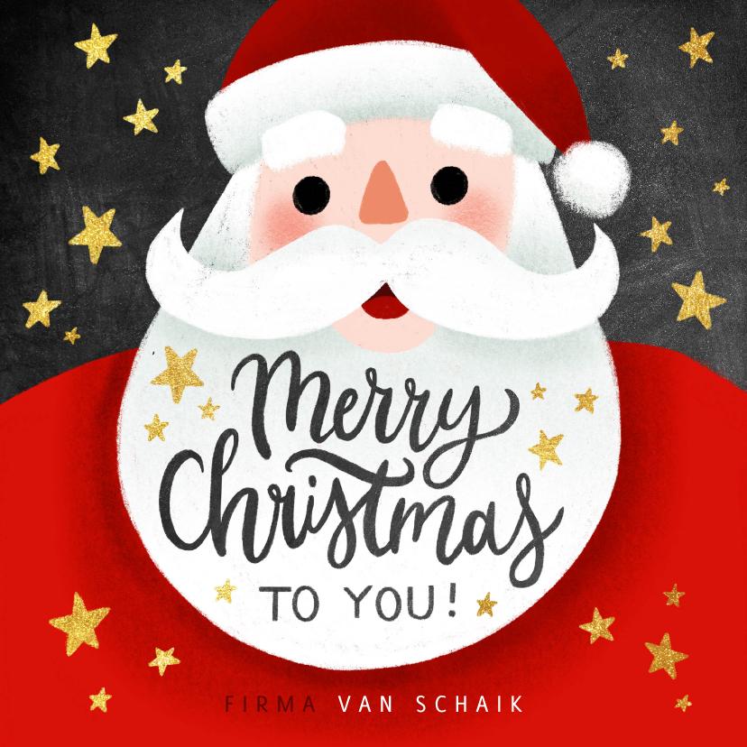 Zakelijke kerstkaarten - Zakelijke kerstkaart met kerstman, sterren & Merry Christmas