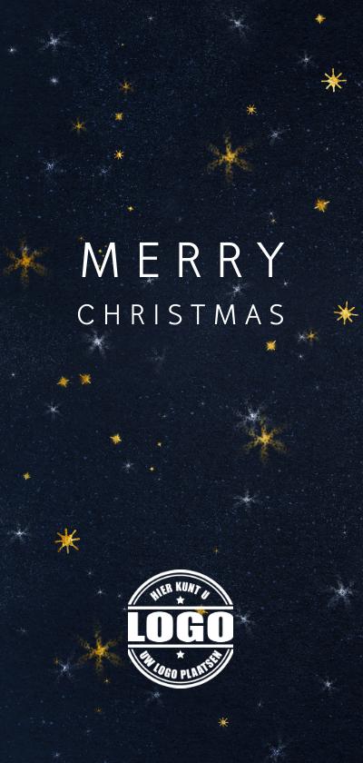 Zakelijke kerstkaarten - Zakelijke kerstkaart met logo sterren en sneeuw