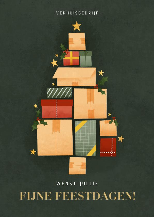 Zakelijke kerstkaarten - Zakelijke kerstkaart met verhuisdozen kerstboom en sterren