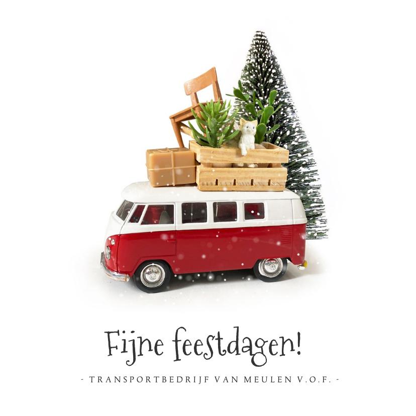 Zakelijke kerstkaarten - Zakelijke kerstkaart met Volkswagenbusje transportbedrijf