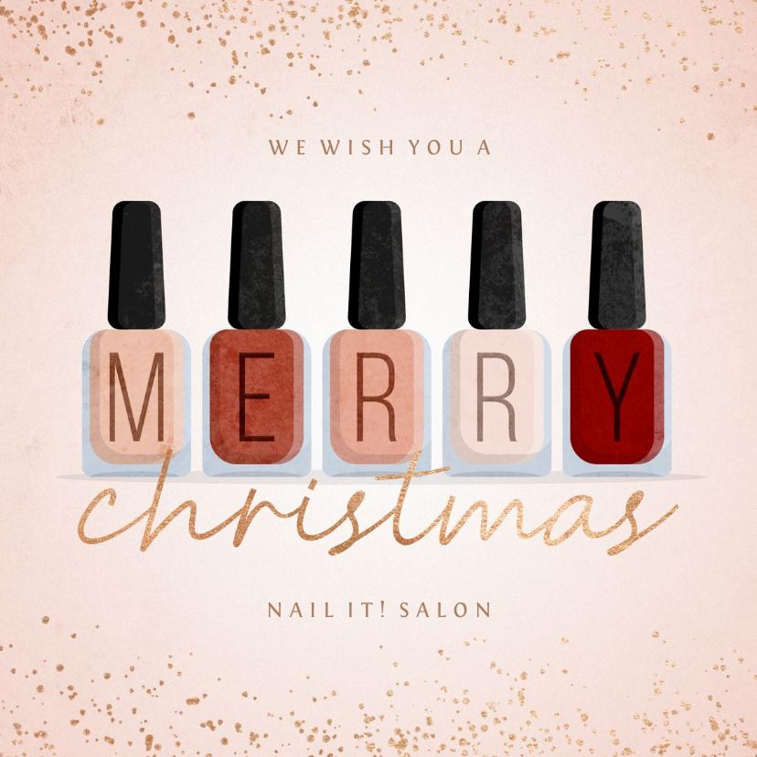Zakelijke kerstkaarten - Zakelijke kerstkaart nagellak manicure pedicure met glitters