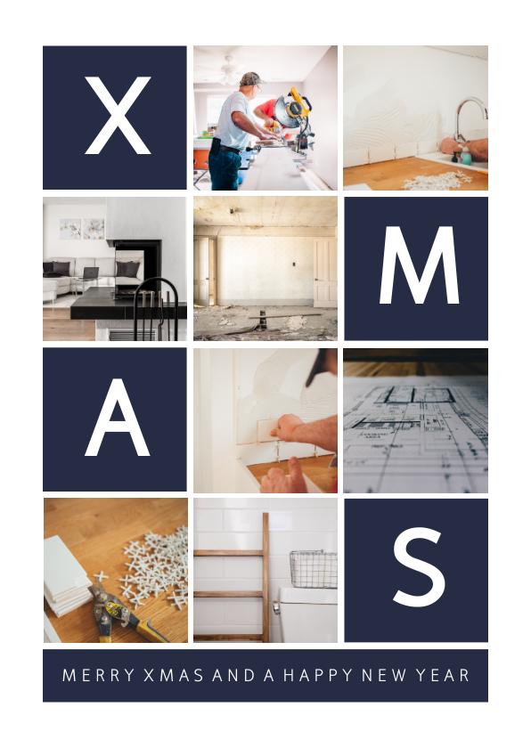 Zakelijke kerstkaarten - Zakelijke kerstkaart rechthoekig XMAS met vakjes en foto's