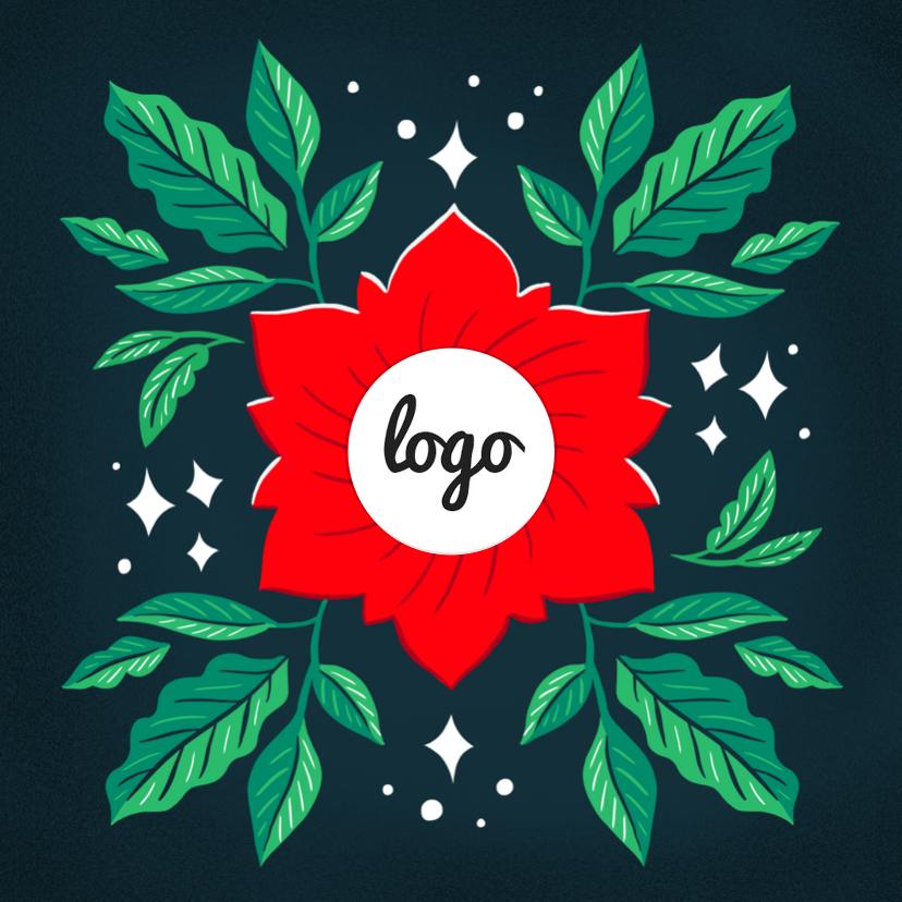 Zakelijke kerstkaarten - Zakelijke kerstkaart rood groen met logo en foto