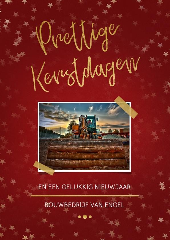 Zakelijke kerstkaarten - Zakelijke kerstkaart rood met foto en goud