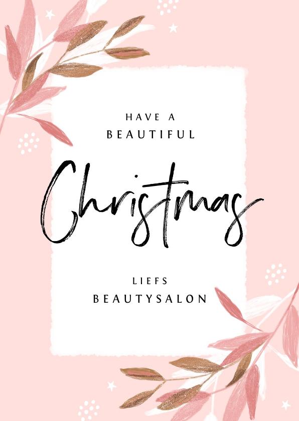 Zakelijke kerstkaarten - Zakelijke kerstkaart roze stijlvol beauty