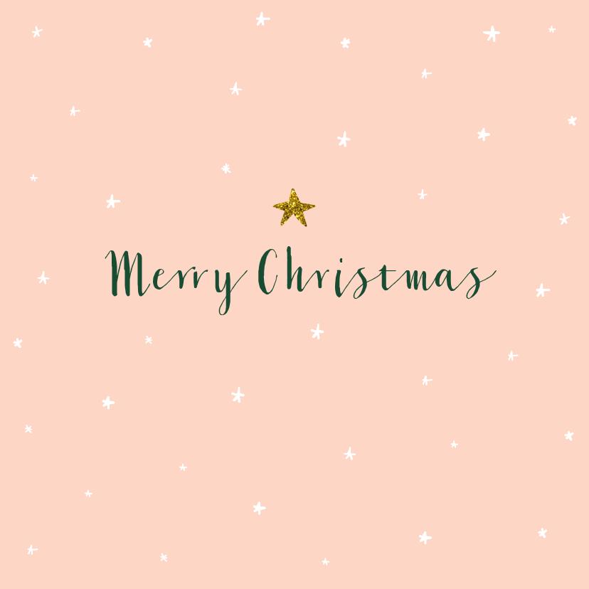 Zakelijke kerstkaarten - Zakelijke kerstkaart sterren glitterlook