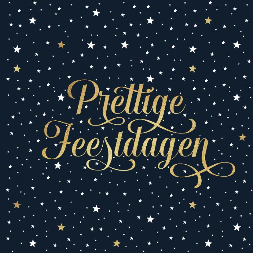 Zakelijke kerstkaarten - Zakelijke kerstkaart sterren goud prettige feestdagen
