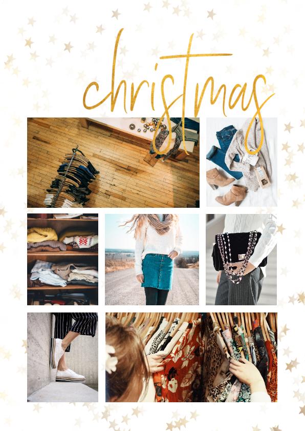 Zakelijke kerstkaarten - Zakelijke kerstkaart sterren met gouden christmas