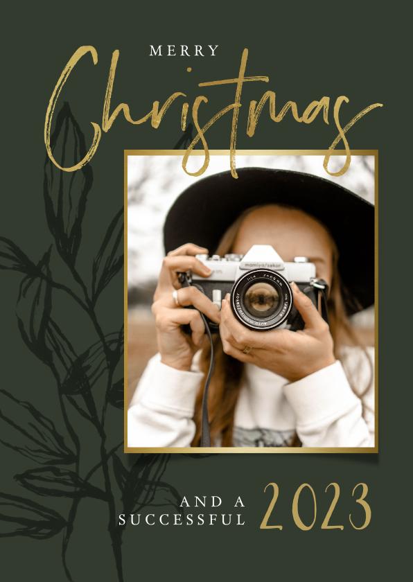 Zakelijke kerstkaarten - Zakelijke kerstkaart stijlvol olijfgroen bladeren goud foto