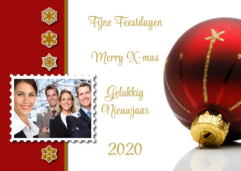 Zakelijke kerstkaarten - Zakelijke Kerstkaart Stijlvol rode kerstbal 2019