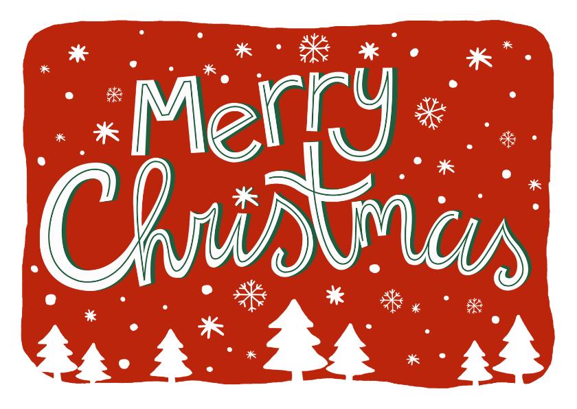 Zakelijke kerstkaarten - Zakelijke kerstkaart tekst sneeuw kerstbomen