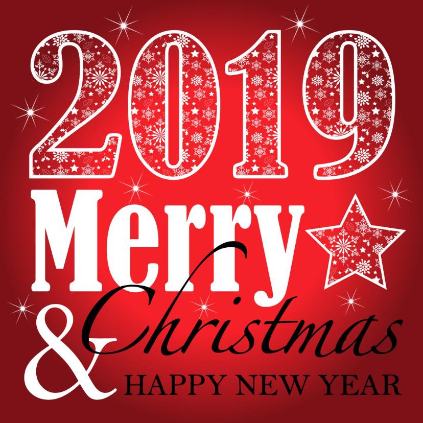 Zakelijke kerstkaarten - Zakelijke kerstkaart typografie 2019 rood
