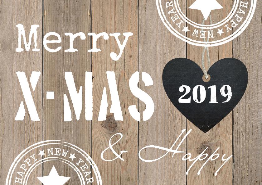 Zakelijke kerstkaarten - Zakelijke kerstkaart typografie hout hartje