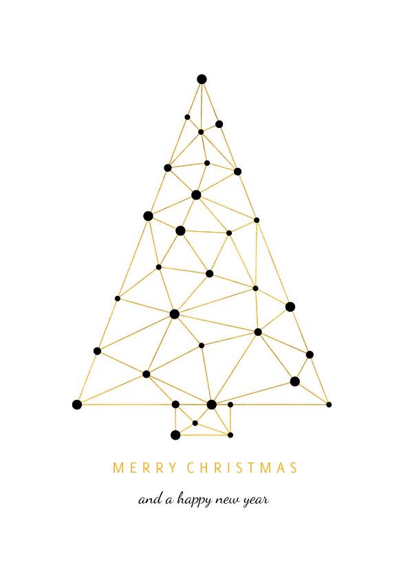 Zakelijke kerstkaarten - Zakelijke kerstkaart verbinding gouden kerstboom