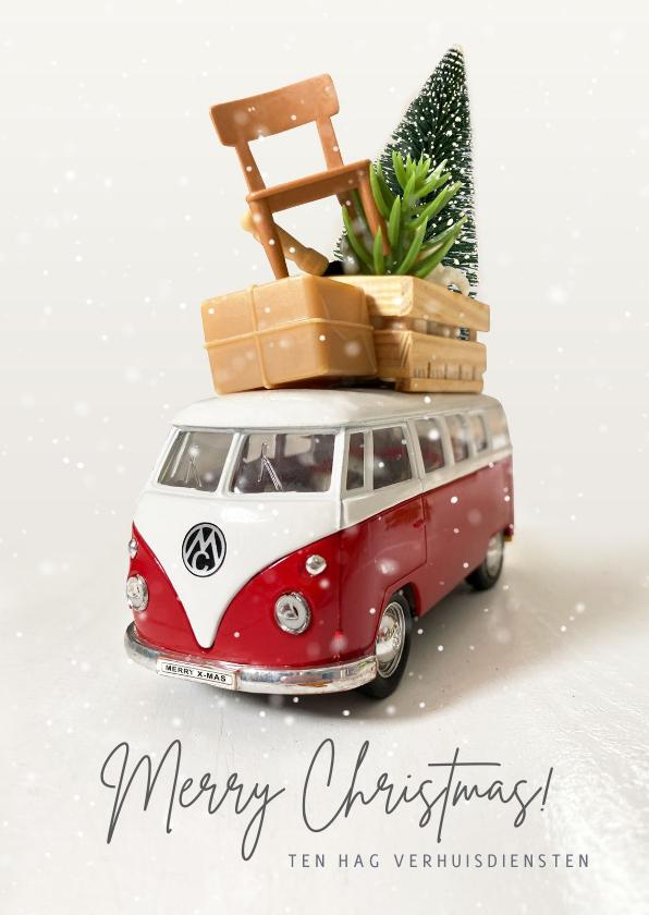 Zakelijke kerstkaarten - Zakelijke kerstkaart verhuisbedrijf met volkswagenbusje